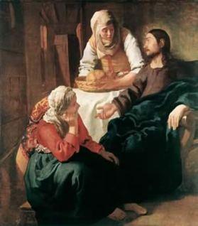 Maria luistert aan de voeten van Jezus.