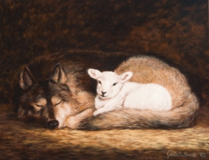 Het lammetje voelt zich veilig bij de wolf. (bron afbeelding: coenwessel.nl)