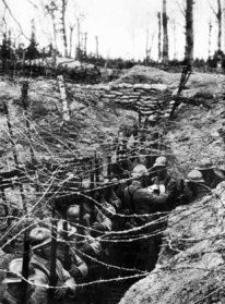 Primitieve Franse loopgraven in W.O. I